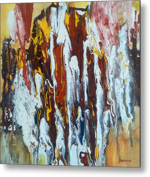 Abstract Art Metal Print featuring the painting Flowing Colors by Florentina Maria Popescu