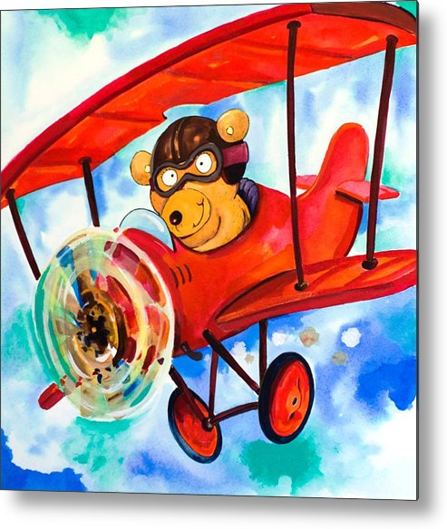 Bear Metal Print featuring the painting Flying Bear by Scott Nelson