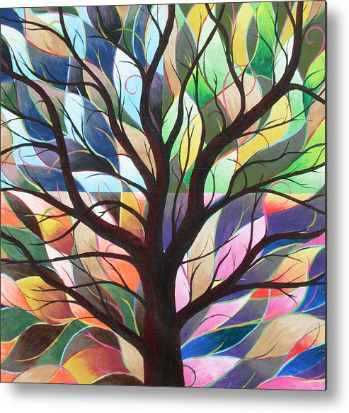 Tree Abstract Landscape Seasons Nature Metal Print featuring the painting Four Seasons by Sally Van Driest