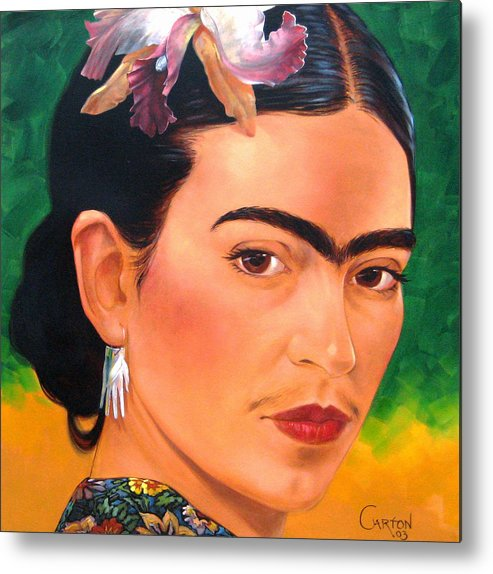 Frida Kahlo Metal Print featuring the painting Frida Kahlo 2003 by Jerrold Carton