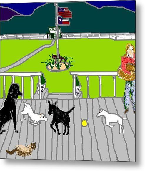 Dogs Metal Print featuring the digital art Front Porch Fun by Carole Boyd