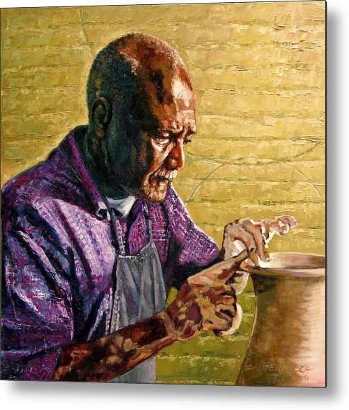 Black Potter Metal Print featuring the painting Full Circle by John Lautermilch