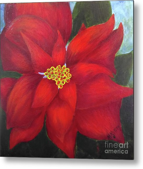 Flower Metal Print featuring the painting Funny Poinsettia by Marsha McAlexander