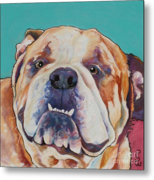 Pat Saunders-white Pet Portraits Metal Print featuring the painting Game Face  by Pat Saunders-White