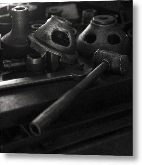 Black And White Metal Print featuring the digital art Garage Hammer And Tools by George Ferrell
