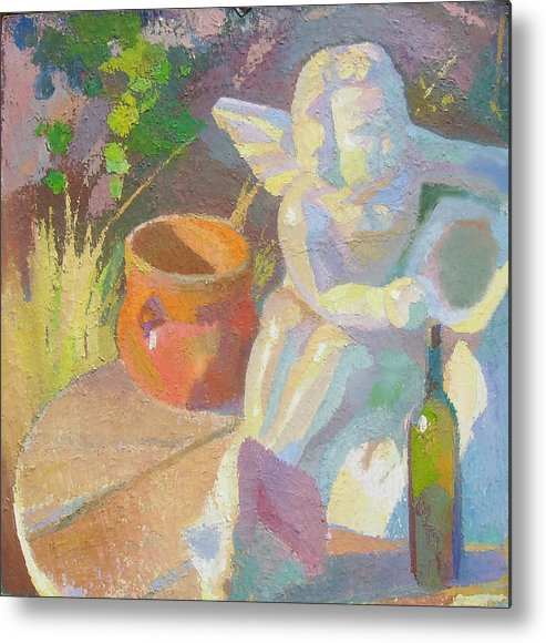 Plein Aire Metal Print featuring the painting Garden Study With White Angel Figure by Ken Massey