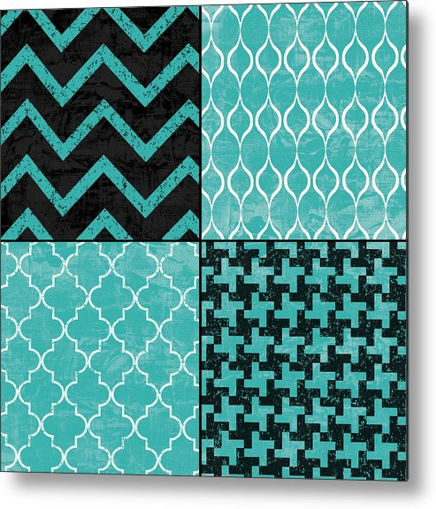 Patchwork Metal Print featuring the mixed media Geometric Patchwork by Marilu Windvand