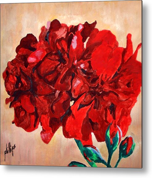 Flower Metal Print featuring the painting Geranium Bloom by Jim Phillips