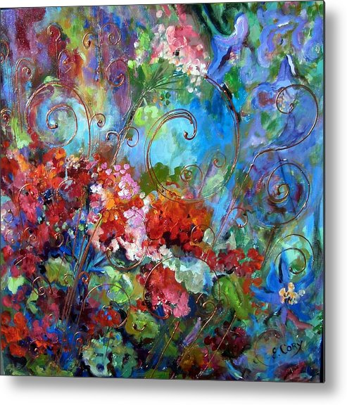 Floral Metal Print featuring the painting Geranium Garden by Elaine Cory