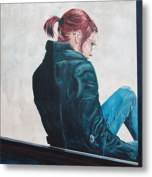 Kevin Callahan Metal Print featuring the painting Girl In The Window-sfai by Kevin Callahan