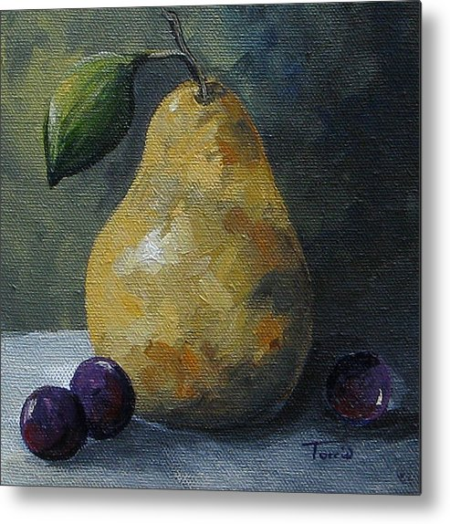 Pear Metal Print featuring the painting Gold Pear With Grapes by Torrie Smiley