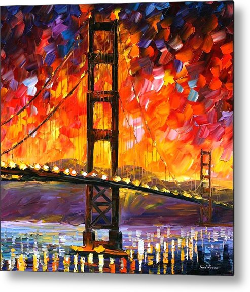 City Metal Print featuring the painting Golden Gate Bridge by Leonid Afremov