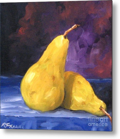 Art Metal Print featuring the painting Golden Pears by Richard T Pranke