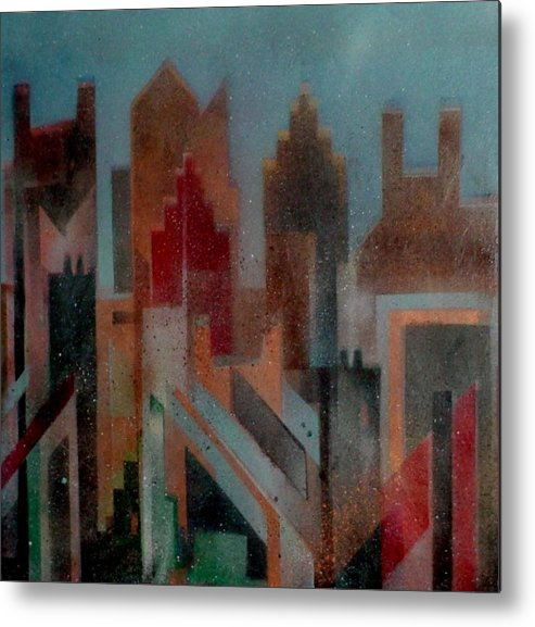 Abstract Metal Print featuring the painting Gothem City by Anita Burgermeister