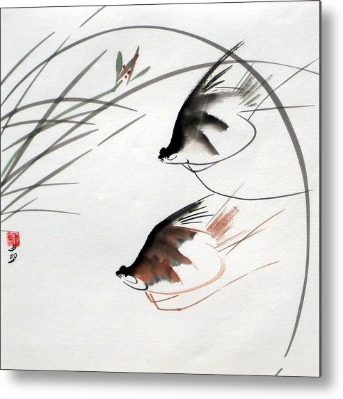 Chinese Painting Metal Print featuring the painting Graceful Swimmer by Ming Yeung