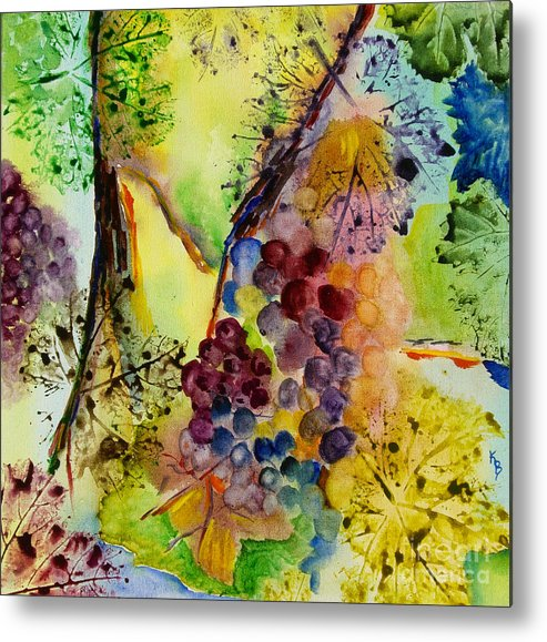 Watercolor Metal Print featuring the painting Grapes And Leaves IIi by Karen Fleschler