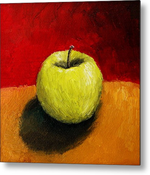 Apple Metal Print featuring the painting Green Apple With Red And Gold by Michelle Calkins