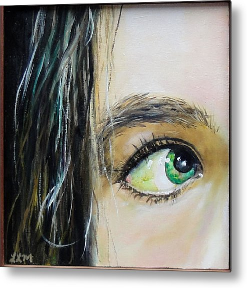 Eye Metal Print featuring the painting Green Eyes by Laura Leigh McCall