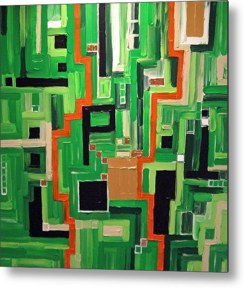 Modern Metal Print featuring the painting Greens by Katerina Wagner