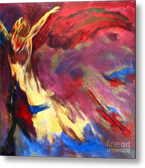 Abstract Metal Print featuring the painting Guardian Angel by Denice Rinks