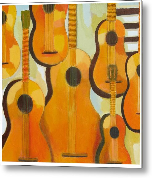 Abstract Metal Print featuring the painting Guitars by Habib Ayat