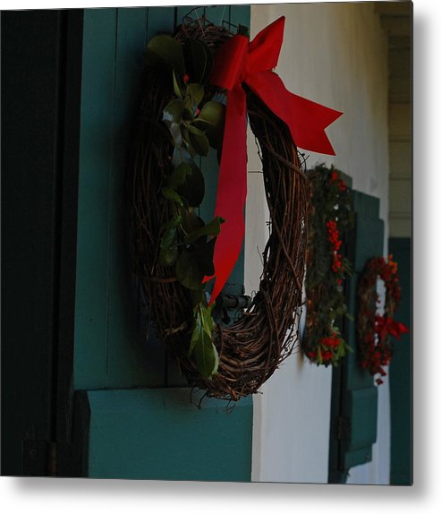 Wreaths Metal Print featuring the photograph Happy Holidays by Jean Booth