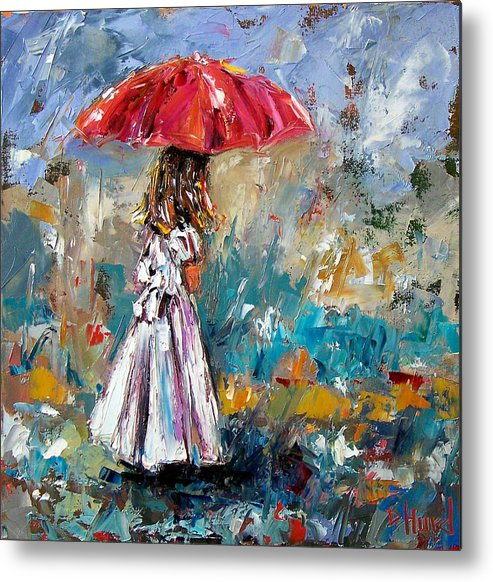 Children Art Metal Print featuring the painting Her White Dress by Debra Hurd