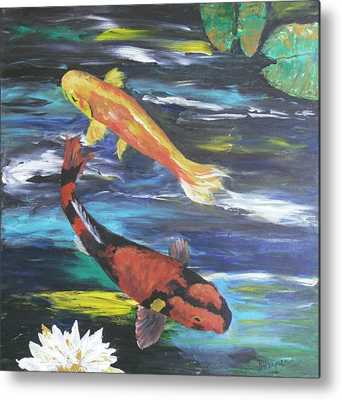 Koi Metal Print featuring the painting Hi Utsuri And Doitsu Koi by Barbara Harper