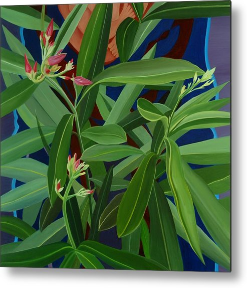 Floral Metal Print featuring the painting Hidden Behind by Sunhee Kim Jung