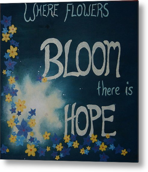 Flowers Metal Print featuring the painting Hope Blossoms by Amanda Clark