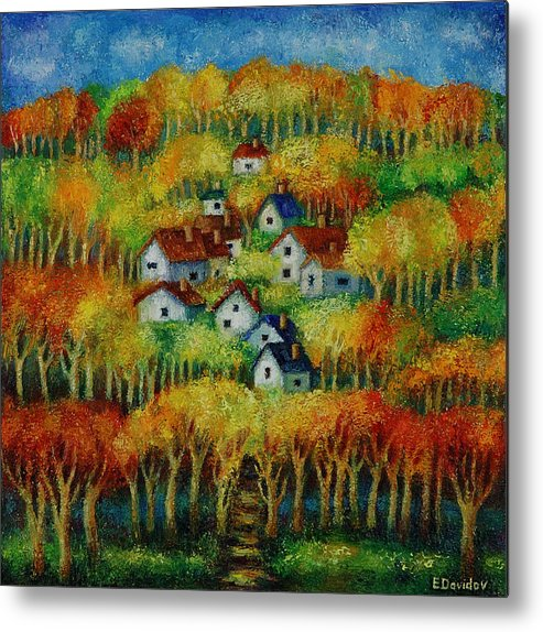 Landscape Metal Print featuring the painting Indian Fall No 1. by Evgenia Davidov
