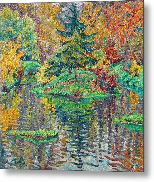 Landscape Metal Print featuring the painting Island On The Park Pond by Vitali Komarov