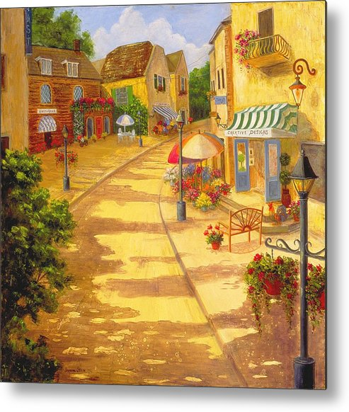 Landscape -italy Metal Print featuring the painting Italian Village by Jeanene Stein