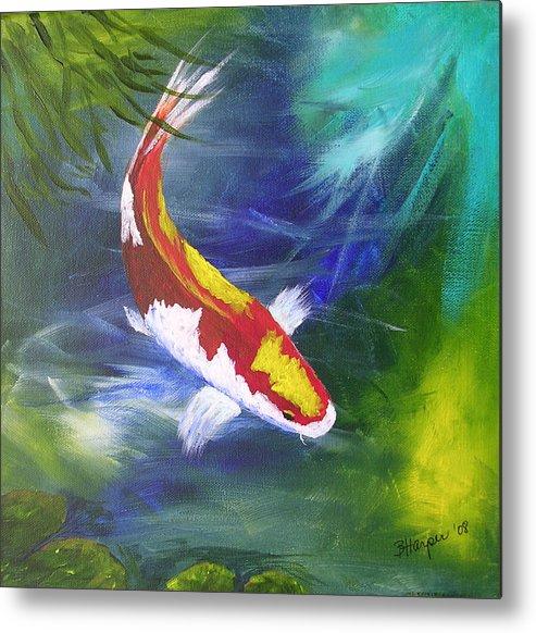 Fish Metal Print featuring the painting Kohaku Koi by Barbara Harper