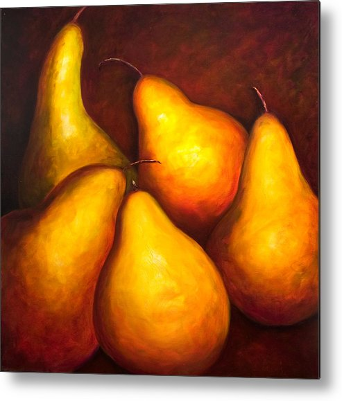 Still Life Yellow Metal Print featuring the painting La Familia by Shannon Grissom