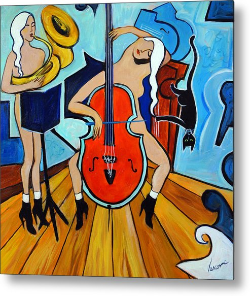 Musicians Metal Print featuring the painting Lady In Red by Valerie Vescovi