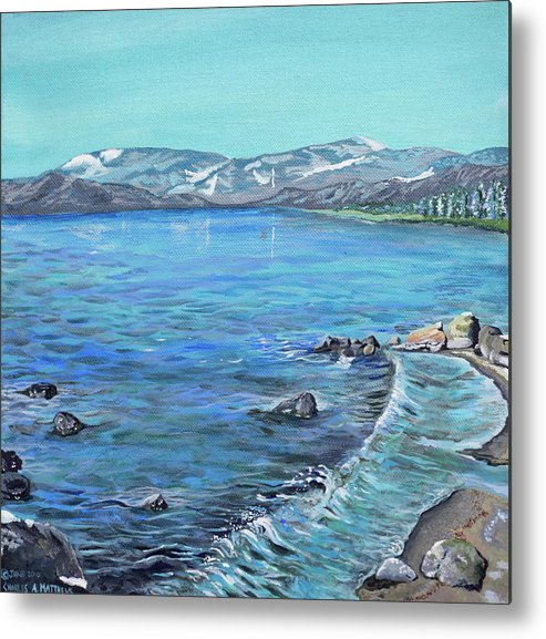 Lake Metal Print featuring the painting Lake Tahoe From Kings Beach California by Charles and Stacey Matthews