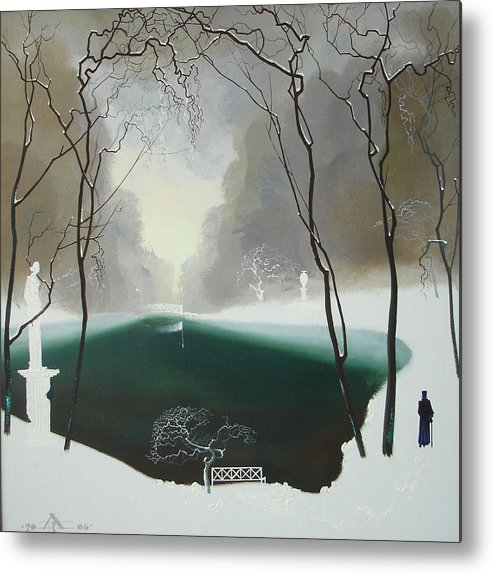 Landscape Metal Print featuring the painting Last Winter by Andrej Vystropov