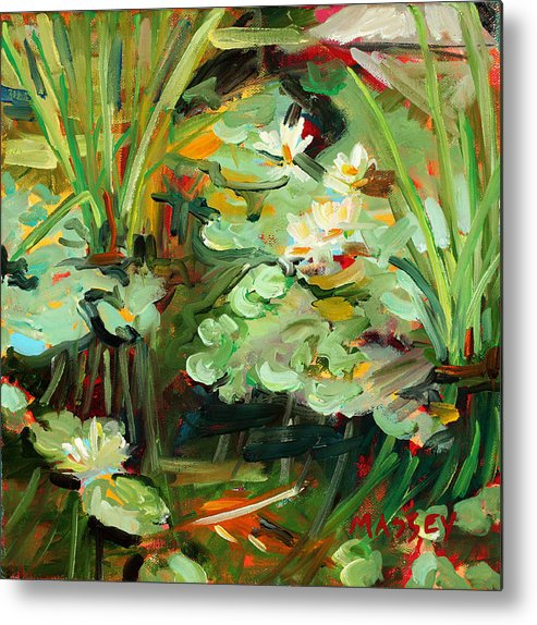 Lily Pond Metal Print featuring the painting Lily Ponderings by Marie Massey