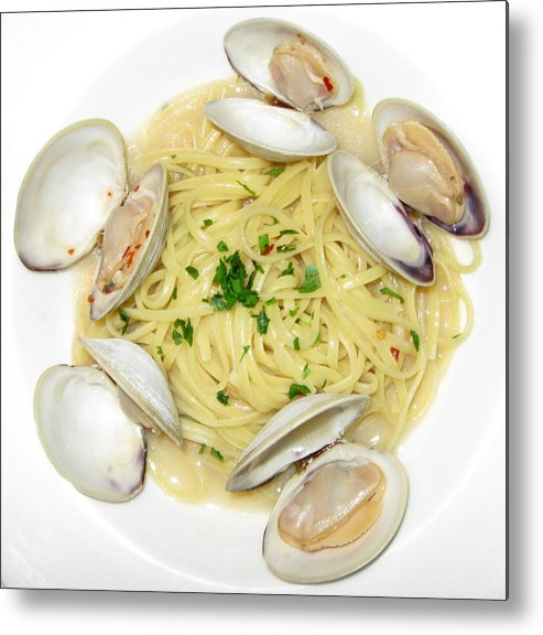 Food Metal Print featuring the photograph Linguine With Clams by Annie Babineau