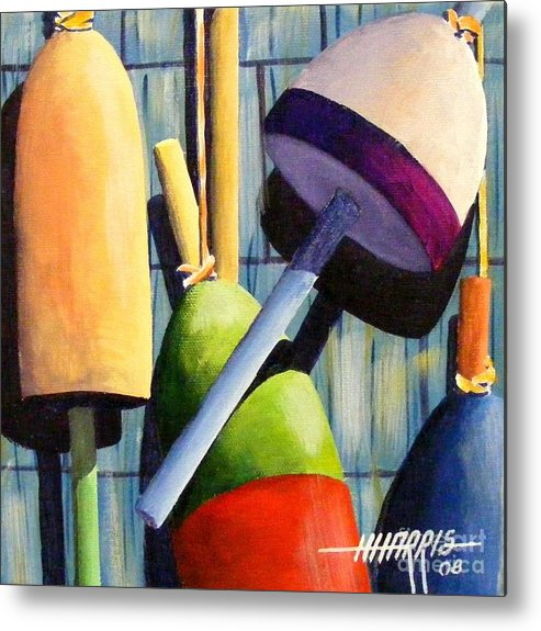 Abstract Art Metal Print featuring the painting Lobster Floats 1 by Hugh Harris