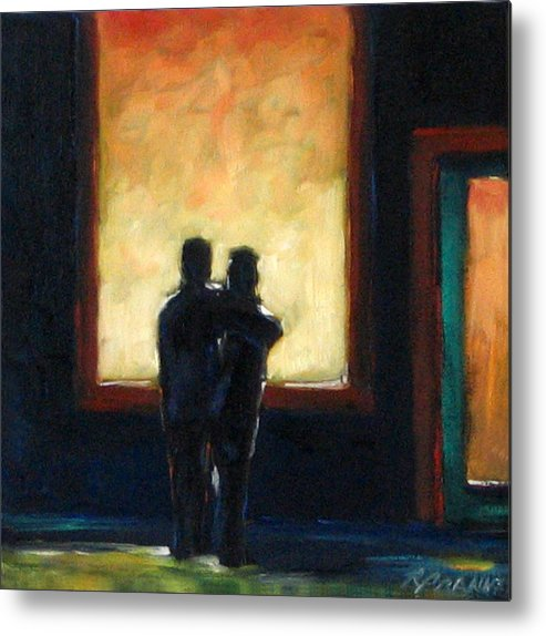 Town Metal Print featuring the painting Looking In Looking Out Mini by Richard T Pranke