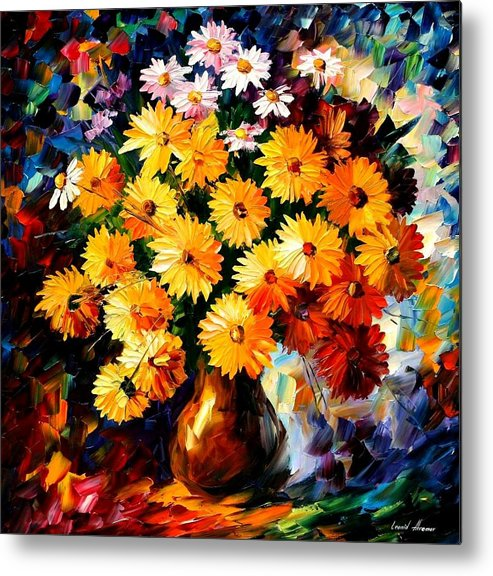 Flowers Metal Print featuring the painting Love Irradiation by Leonid Afremov