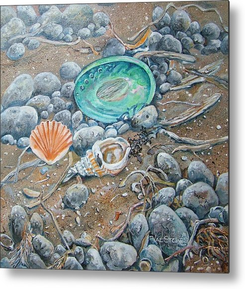 Shells Metal Print featuring the painting Lowtide Treasures by Val Stokes