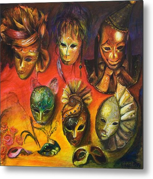 Masks Metal Print featuring the painting Making Faces IIi by Nik Helbig