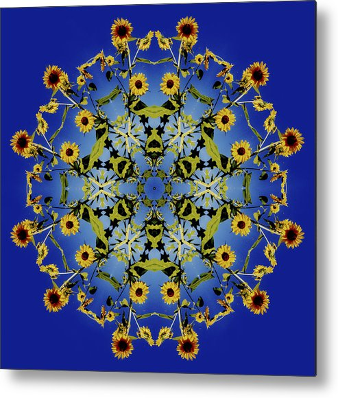 Mandala Metal Print featuring the digital art Mandala Sunflower by Nancy Griswold