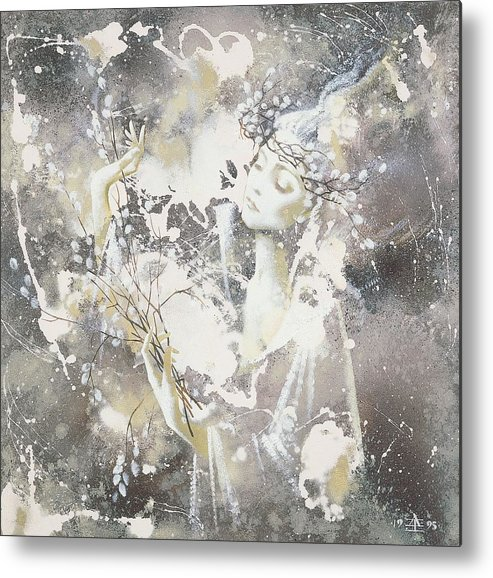 Figures Metal Print featuring the painting March by Andrej Vystropov