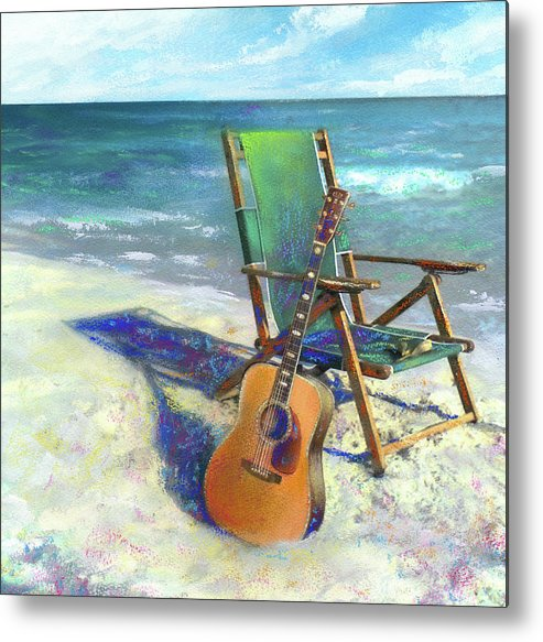Guitar Metal Print featuring the painting Martin Goes To The Beach by Andrew King