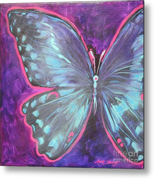 Purple Butterfly Metal Print featuring the painting Maryas by Michele Hollister - for Nancy Asbell