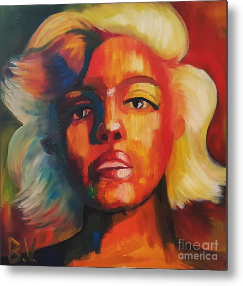 #monroe #marylin #celebrity #oilpainting #colorfull Metal Print featuring the painting Marilyn by Veronika Bernhardt